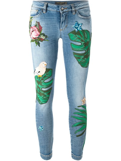 jeans stampa floreale